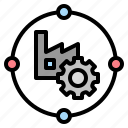chain, factory, industry, manufacturing, supply icon