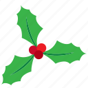 berries, christmas, decoration, kiss, leaves, mistletoe icon