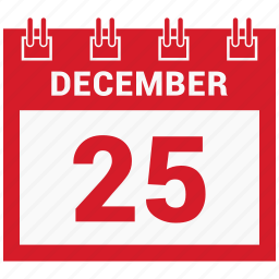 25 december, calendar, celebration, christmas, day, december icon
