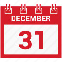 31 december, calendar, celebration, christmas, day, december icon