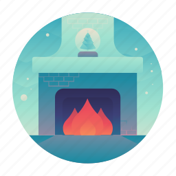 christmas, fire, fireplace, living room icon