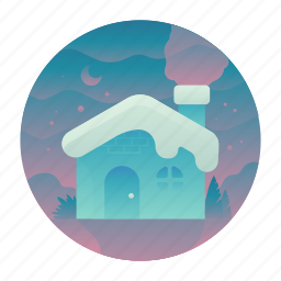 cabin, christmas, house, snow icon