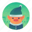 christmas, elf, helper, smile icon