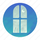 christmas, furniture, night, window icon