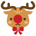 christmas, deer, red nose, reindeer, rudolf, rudolph, xmas icon
