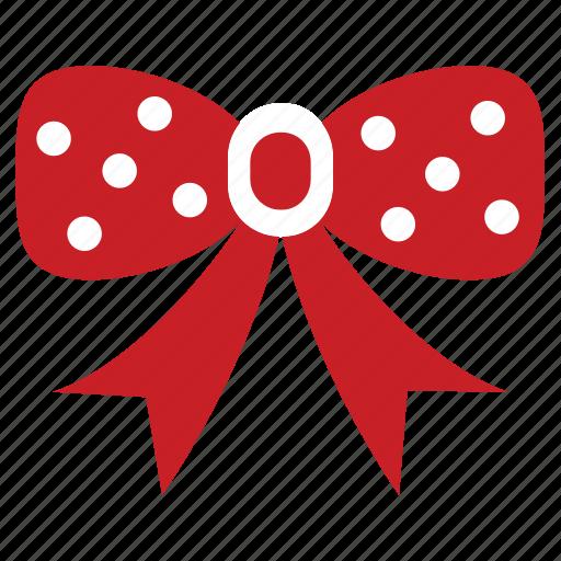accessory, bow, christmas, decoration, hair piece, polkadot, ribbon icon