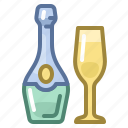 bottle, celebration, champagne, christmas, drink, new year, xmas icon