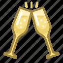 celebration, champagne, christmas, clink, glasses, new year, xmas icon