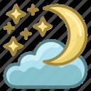 christmas, cloud, moon, new year, night, winter, xmas