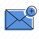 add, letter, mail, message, send icon