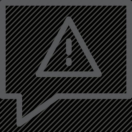alert, bubble, chat, communication, conversation, message, talk, warning icon