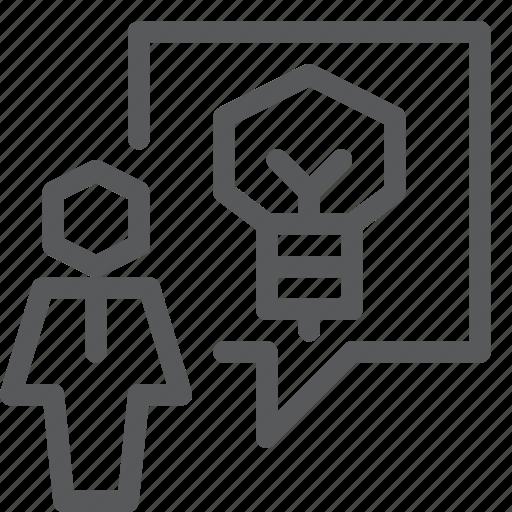 bulb, chat, communication, conversation, idea, message, talk, user icon