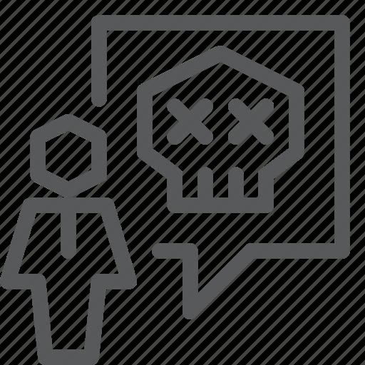 chat, communication, conversation, emoji, message, skull, talk, user icon