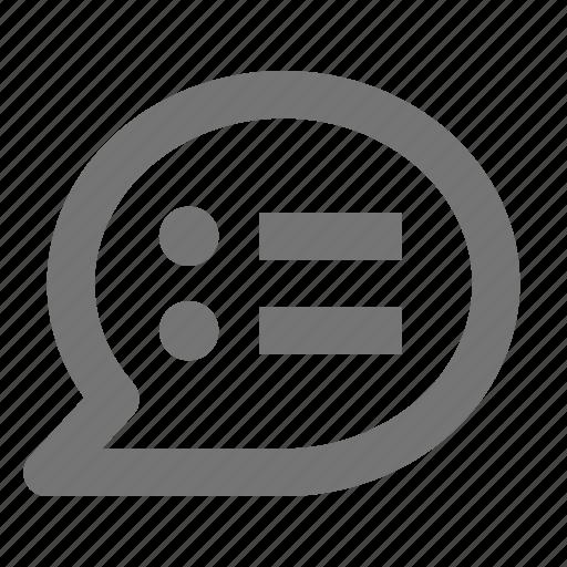 bubble, chat, communication, conversation, list, message, text icon