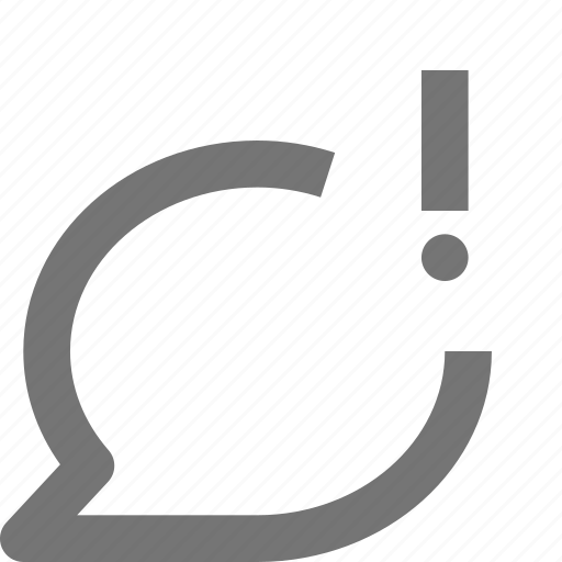 alert, bubble, chat, communication, conversation, exclamation, message, text icon