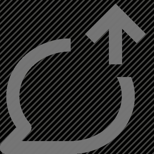 arrow, bubble, chat, communication, conversation, message, up, upload icon