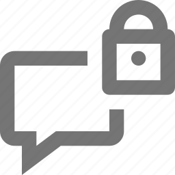 bubble, chat, lock, message, security icon