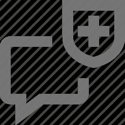 bubble, chat, communication, conversation, message, security, shield, text icon