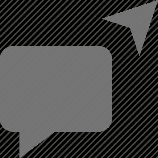 arrow, bubble, chat, message, send icon