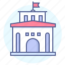 bank, building, government, hall, library, municipal, public icon