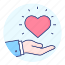 benefaction, charity, giving, hand, heart, love, mercy icon