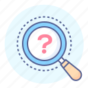 glass, lens, magnifying, mark, question, searching icon