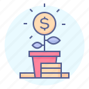 coin, finance, growth, money, plant, pot, stack