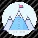 aim, ascent, flag, goal, mountains, peak, summit icon