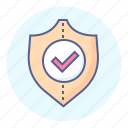 check, defence, insurance, mark, protection, security, shield icon