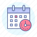 calendar, clock, date, deadline, due date, schedule, time icon