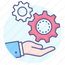 cogs, gears, hand, machinery, solution, wheels, work icon