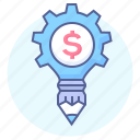 cog, dollar, gear, money, money work, pencil, solution icon