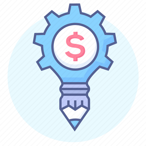cog, dollar, gear, money, money work, pencil, solution icon