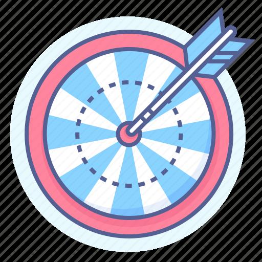 aim, arrow, bulls eye, dart board, darts, target icon