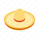 culture, hat, isometric, latin, mexican, mexico, sombrero icon