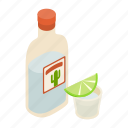 alcohol, drink, glass, isometric, mexican, shot, tequila icon