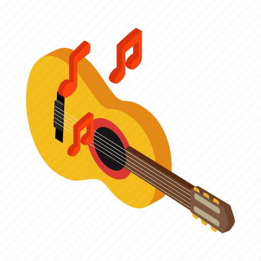 acoustic, guitar, instrument, isometric, mexican, music, sound icon