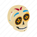 celebration, death, flower, holiday, isometric, mexican, skull icon