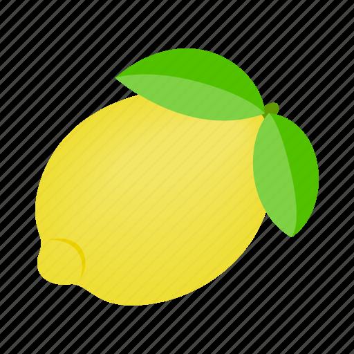 citrus, food, fruit, isometric, leaf, lemon, slice icon
