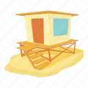 bungalow, cartoon, con, fence, island, ocean, shore icon