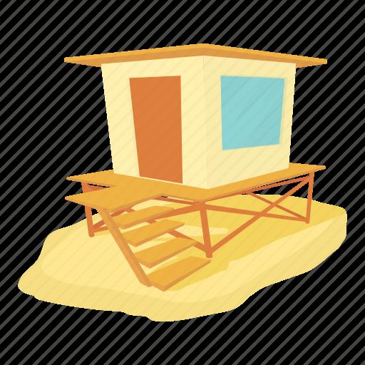 bungalow, cartoon, con, fence, island, ocean, shore icon