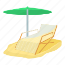 cartoon, chair, deck, deck chair, leisure, travel, tropical icon