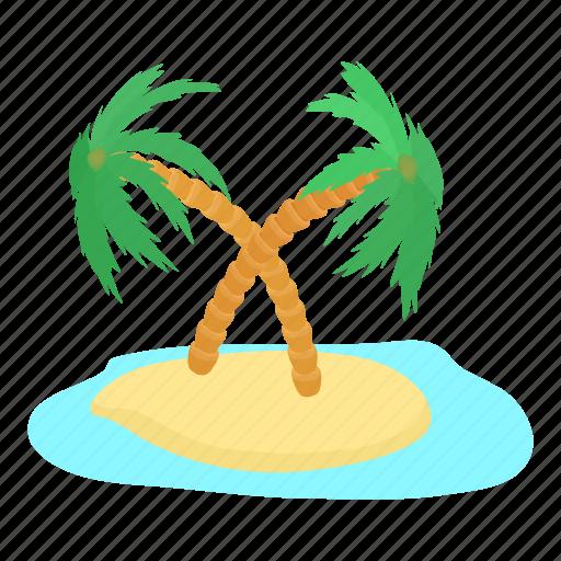 cartoon, destination, island, palm, sunny, travel, tropical icon
