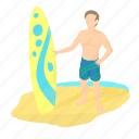 board, cartoon, sport, surf, surfer, surfing, wave icon