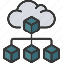 cloud, infrastructure, hierarchy, blocks icon