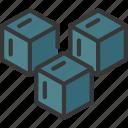 coarse, grained, blocks, stack icon