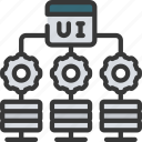 distributed, system, servers, cogs, website icon