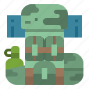 army, bag, bagpack, bottle, soldier icon