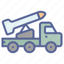 military, rocket, truck, weapon icon