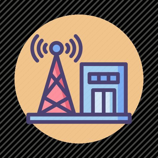 center, communication, radar, signal, telecommunication, tower icon